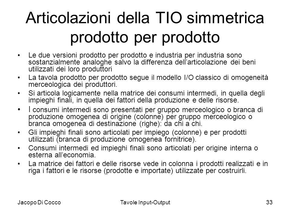 Jacopo Di CoccoTavole Input-Output33 Articolazioni della TIO simmetrica prodotto per prodotto Le due versioni prodotto per prodotto e industria per in
