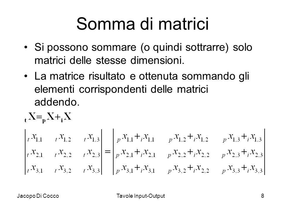 Jacopo Di CoccoTavole Input-Output8 Somma di matrici Si possono sommare (o quindi sottrarre) solo matrici delle stesse dimensioni. La matrice risultat