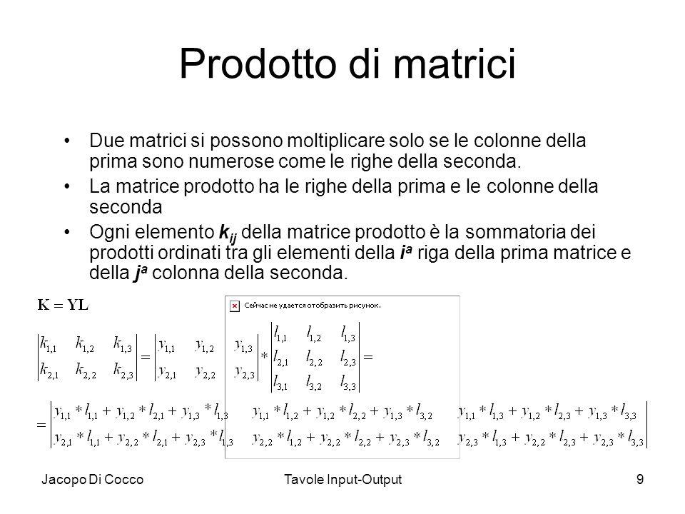 Jacopo Di CoccoTavole Input-Output9 Prodotto di matrici Due matrici si possono moltiplicare solo se le colonne della prima sono numerose come le righe