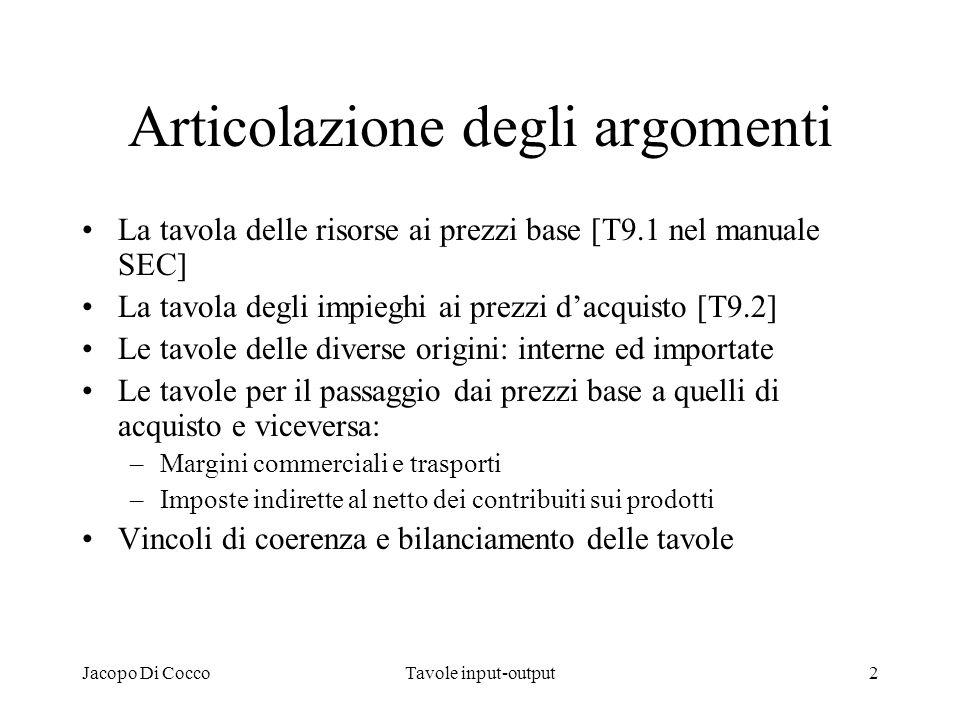Jacopo Di CoccoTavole input-output2 Articolazione degli argomenti La tavola delle risorse ai prezzi base [T9.1 nel manuale SEC] La tavola degli impieg