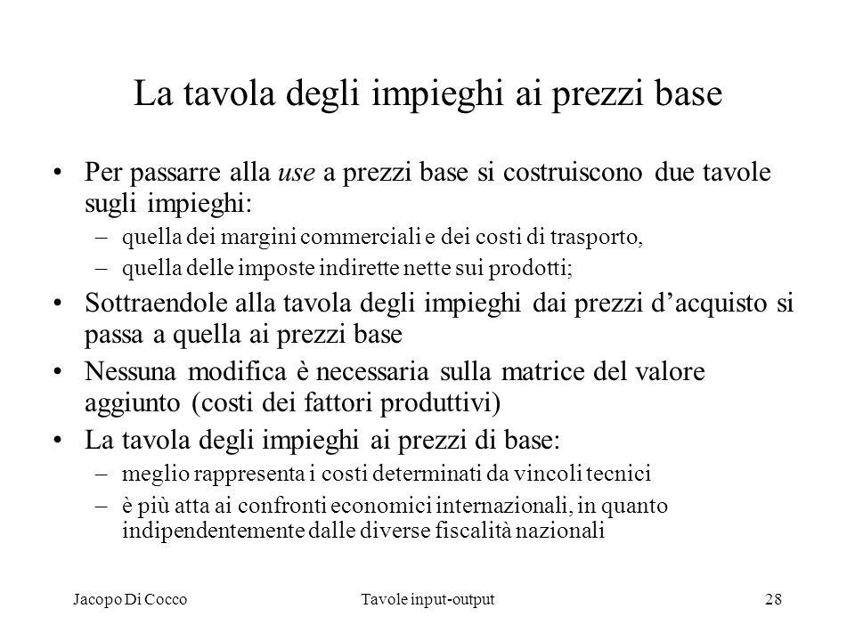 Jacopo Di CoccoTavole input-output28 La tavola degli impieghi ai prezzi base Per passarre alla use a prezzi base si costruiscono due tavole sugli impi