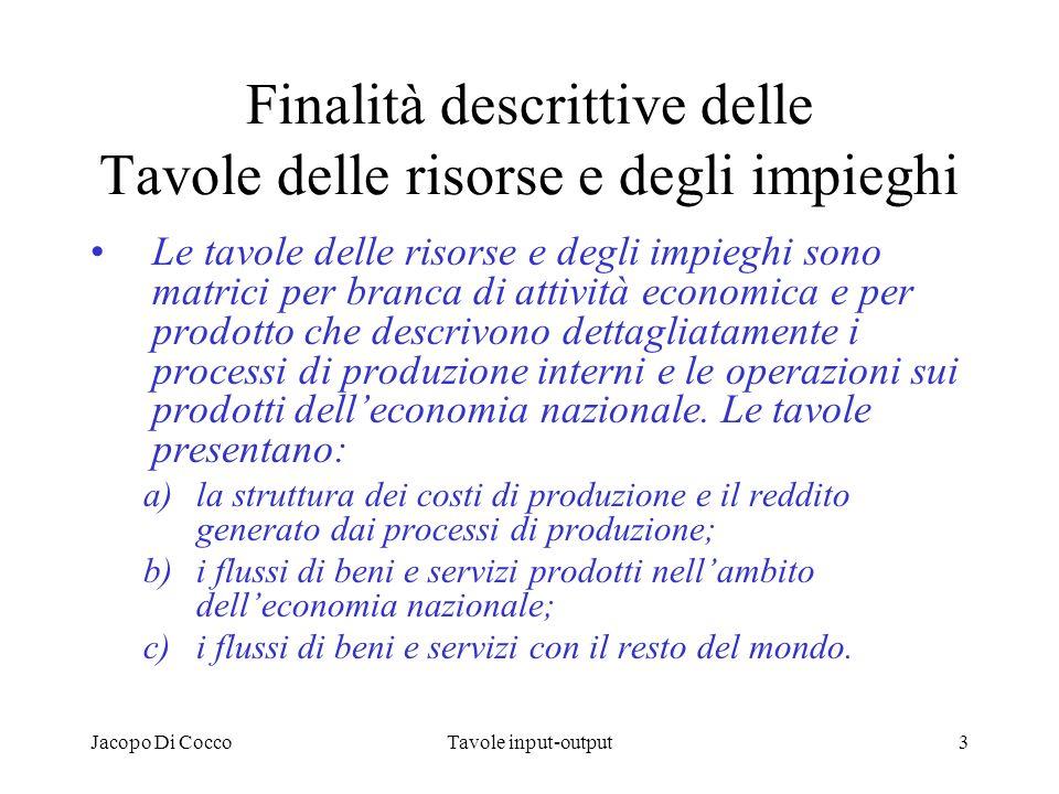 Jacopo Di CoccoTavole input-output3 Finalità descrittive delle Tavole delle risorse e degli impieghi Le tavole delle risorse e degli impieghi sono mat