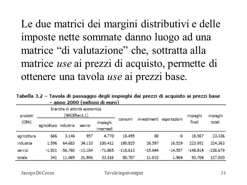 Jacopo Di CoccoTavole input-output31 Le due matrici dei margini distributivi e delle imposte nette sommate danno luogo ad una matrice di valutazione c