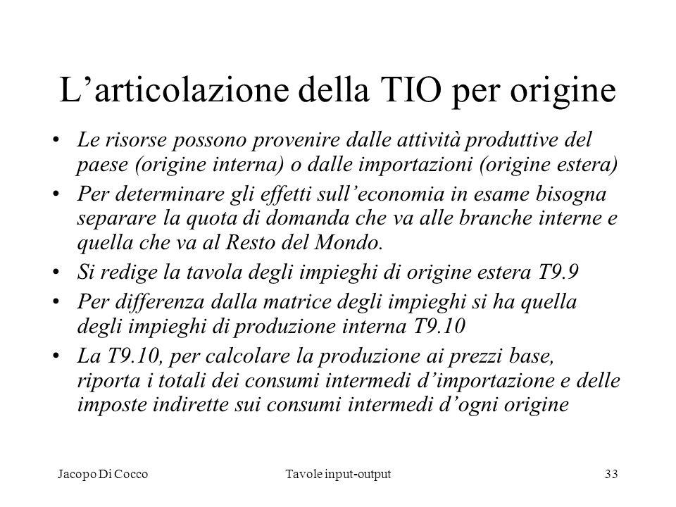 Jacopo Di CoccoTavole input-output33 Larticolazione della TIO per origine Le risorse possono provenire dalle attività produttive del paese (origine in