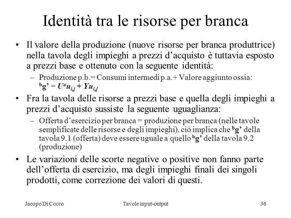 Jacopo Di CoccoTavole input-output36 Identità tra le risorse per branca Il valore della produzione (nuove risorse per branca produttrice) nella tavola