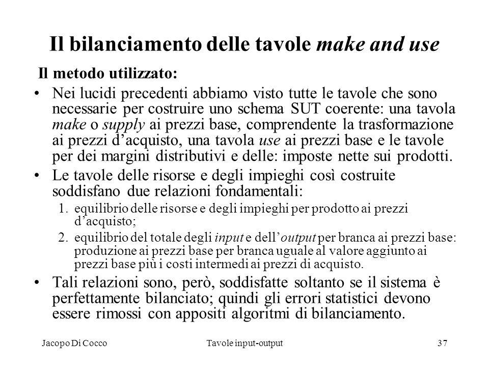 Jacopo Di CoccoTavole input-output37 Il bilanciamento delle tavole make and use Il metodo utilizzato: Nei lucidi precedenti abbiamo visto tutte le tav