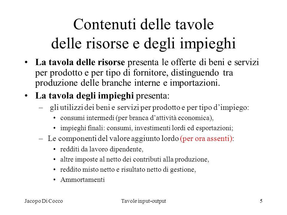 Jacopo Di CoccoTavole input-output5 Contenuti delle tavole delle risorse e degli impieghi La tavola delle risorse presenta le offerte di beni e serviz