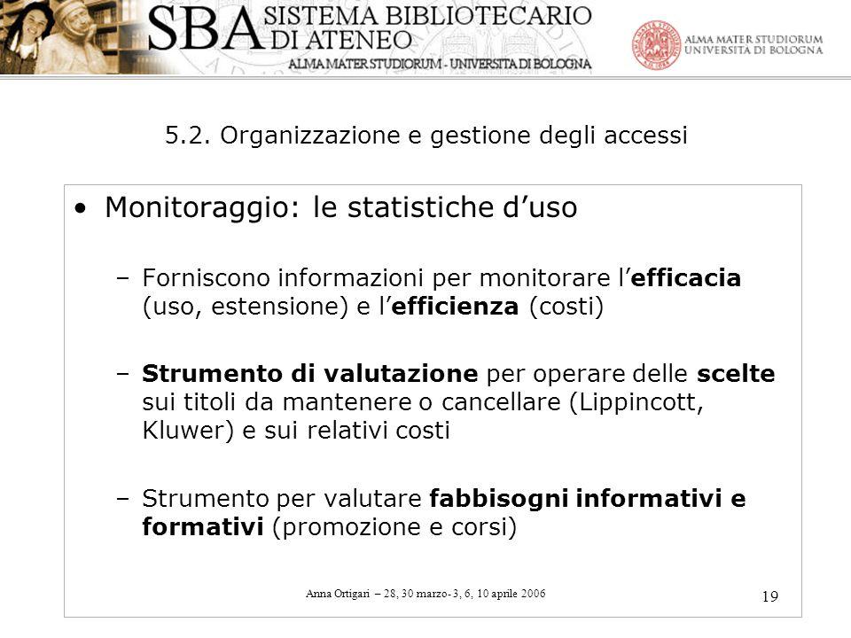 Anna Ortigari – 28, 30 marzo- 3, 6, 10 aprile 2006 19 5.2. Organizzazione e gestione degli accessi Monitoraggio: le statistiche duso –Forniscono infor