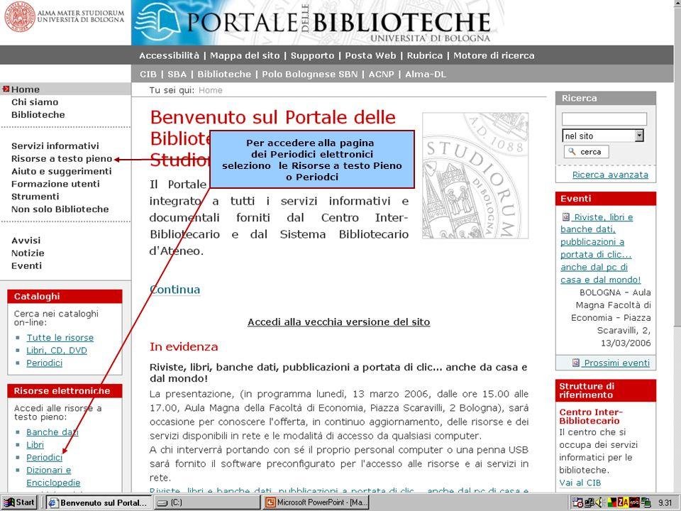 Anna Ortigari – 28, 30 marzo- 3, 6, 10 aprile 2006 22 Per accedere alla pagina dei Periodici elettronici seleziono le Risorse a testo Pieno o Periodci