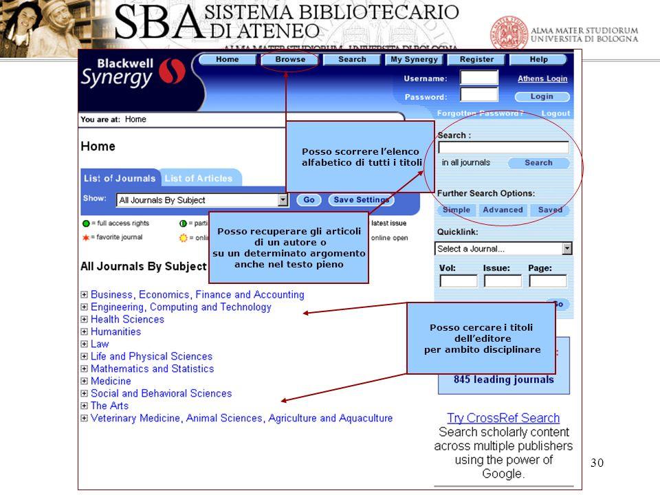Anna Ortigari – 28, 30 marzo- 3, 6, 10 aprile 2006 30 Posso cercare i titoli delleditore per ambito disciplinare Posso scorrere lelenco alfabetico di