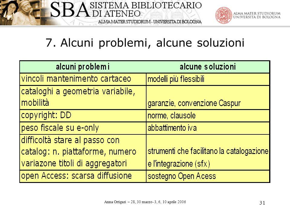 Anna Ortigari – 28, 30 marzo- 3, 6, 10 aprile 2006 31 7. Alcuni problemi, alcune soluzioni