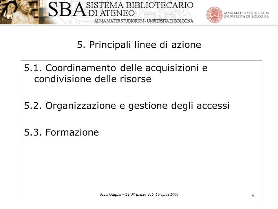Anna Ortigari – 28, 30 marzo- 3, 6, 10 aprile 2006 9 5. Principali linee di azione 5.1. Coordinamento delle acquisizioni e condivisione delle risorse