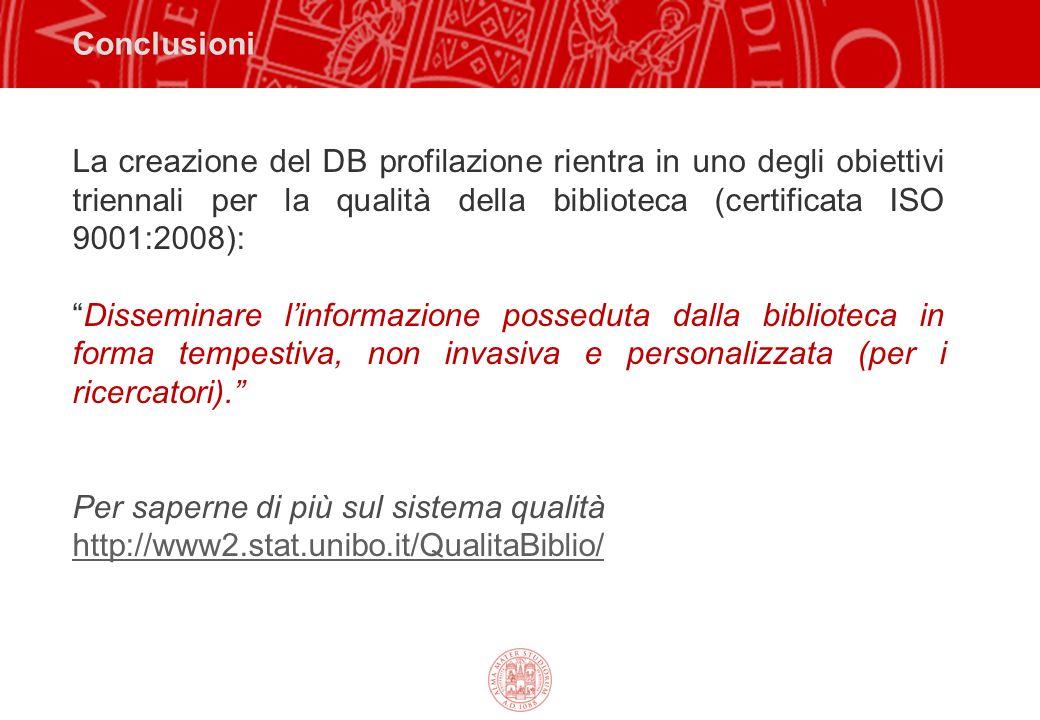 Conclusioni La creazione del DB profilazione rientra in uno degli obiettivi triennali per la qualità della biblioteca (certificata ISO 9001:2008): Dis