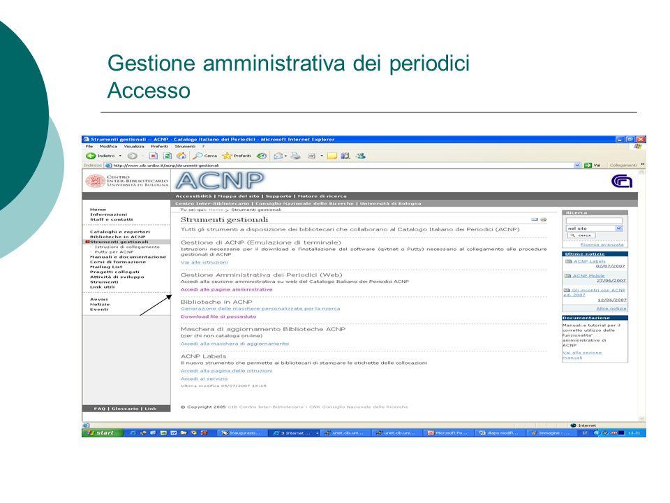 Gestione amministrativa dei periodici Accesso