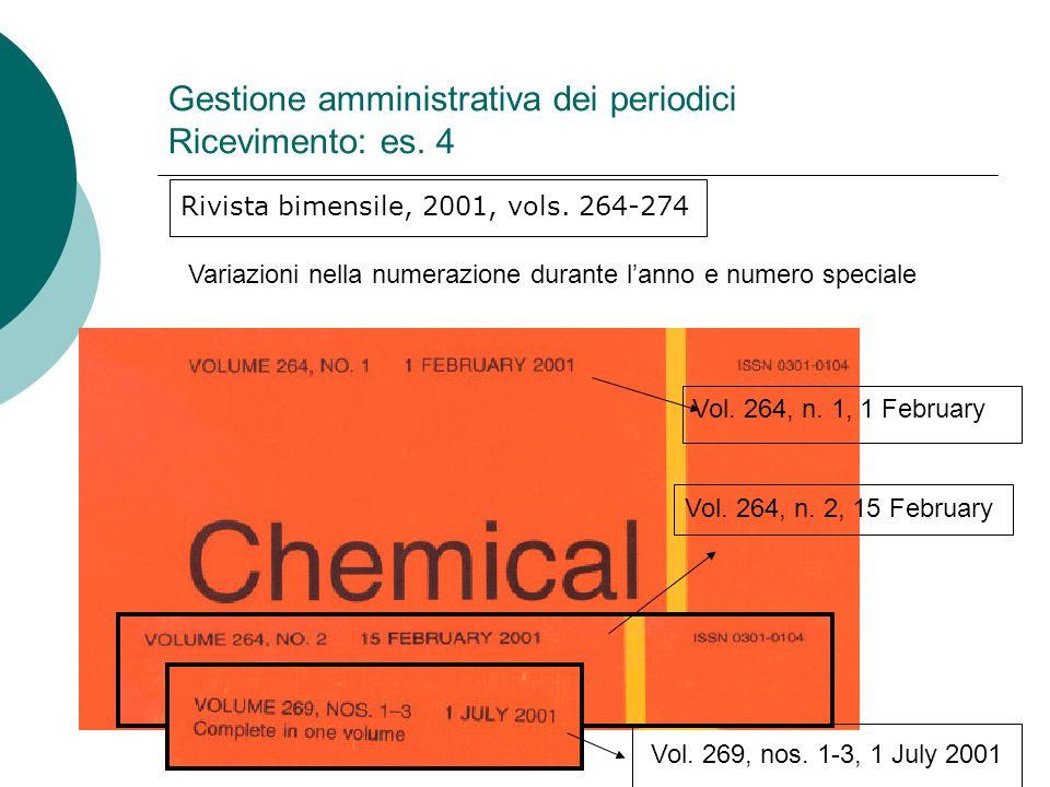 Gestione amministrativa dei periodici Ricevimento: es.