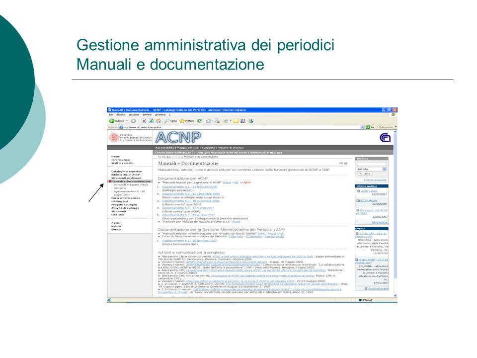 Gestione amministrativa dei periodici Manuali e documentazione