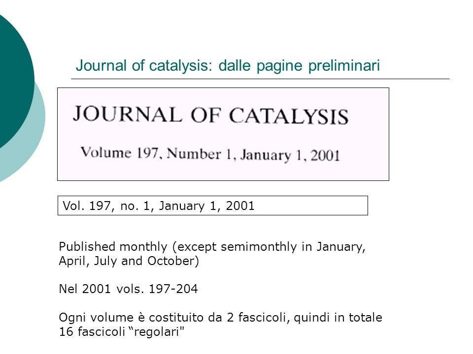 Journal of catalysis: dalle pagine preliminari Vol.