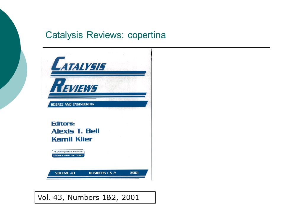Catalysis Reviews: copertina Vol. 43, Numbers 1&2, 2001