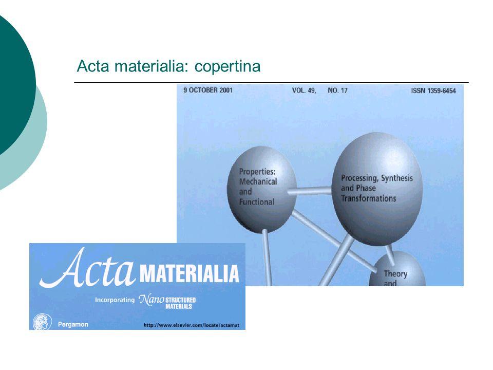 Acta materialia: copertina