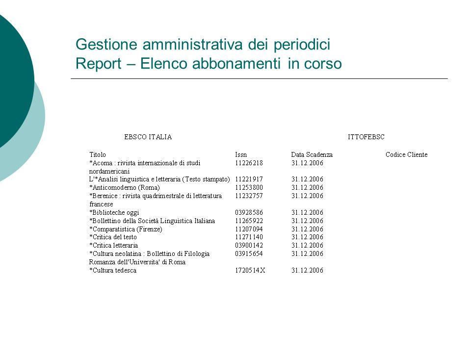 Gestione amministrativa dei periodici Report – Elenco abbonamenti in corso
