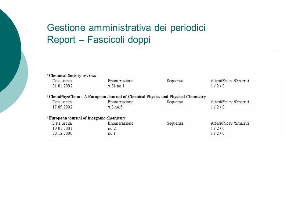 Gestione amministrativa dei periodici Report – Fascicoli doppi