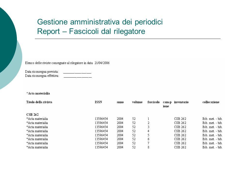 Gestione amministrativa dei periodici Report – Fascicoli dal rilegatore