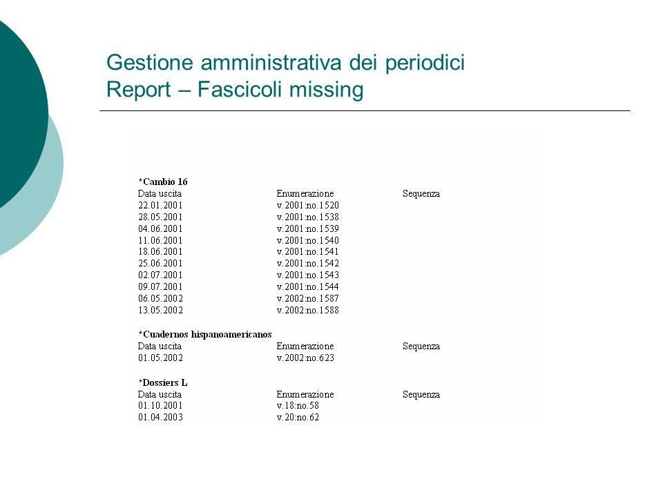 Gestione amministrativa dei periodici Report – Fascicoli missing