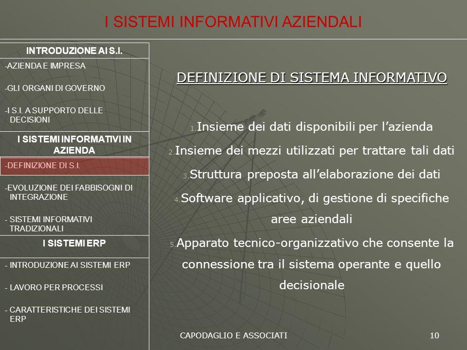 CAPODAGLIO E ASSOCIATI 10 DEFINIZIONE DI SISTEMA INFORMATIVO 1. Insieme dei dati disponibili per lazienda 2. Insieme dei mezzi utilizzati per trattare