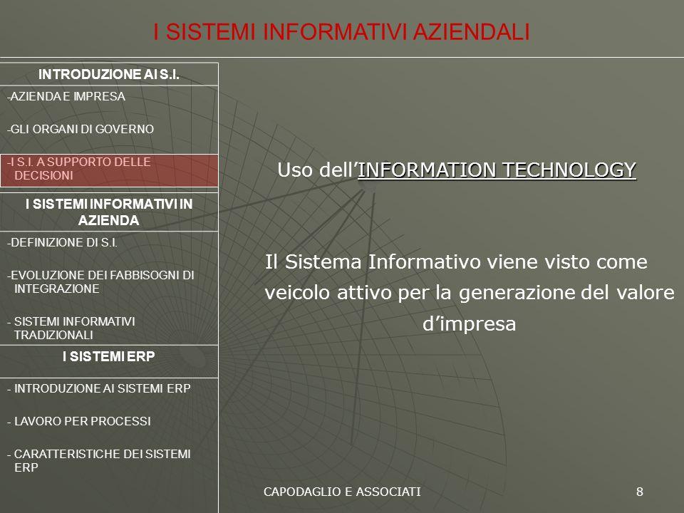 CAPODAGLIO E ASSOCIATI 8 INFORMATION TECHNOLOGY Uso dellINFORMATION TECHNOLOGY Il Sistema Informativo viene visto come veicolo attivo per la generazio