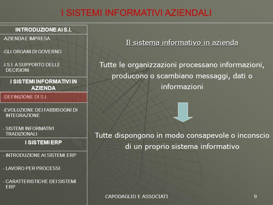 CAPODAGLIO E ASSOCIATI 9 Il sistema informativo in azienda Tutte le organizzazioni processano informazioni, producono o scambiano messaggi, dati o inf