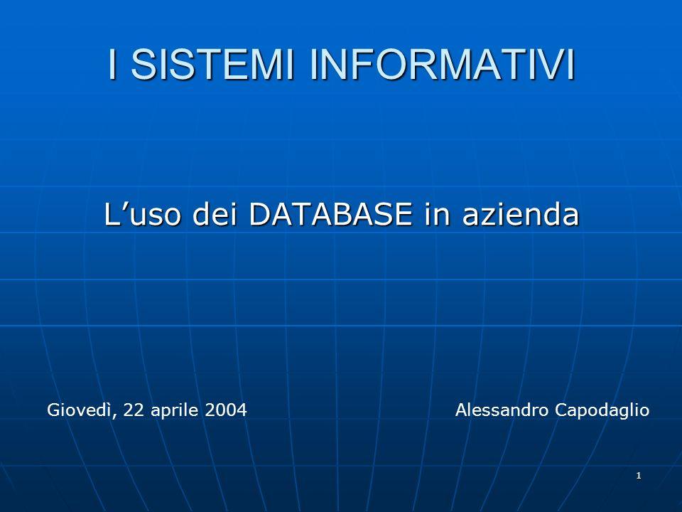 1 I SISTEMI INFORMATIVI Luso dei DATABASE in azienda Giovedì, 22 aprile 2004Alessandro Capodaglio