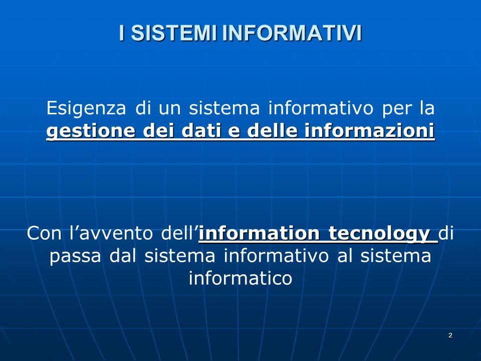 2 I SISTEMI INFORMATIVI gestione dei dati e delle informazioni Esigenza di un sistema informativo per la gestione dei dati e delle informazioni information tecnology Con lavvento dellinformation tecnology di passa dal sistema informativo al sistema informatico