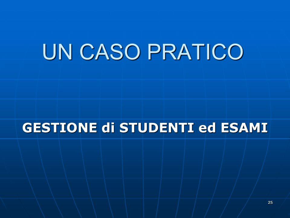 25 UN CASO PRATICO GESTIONE di STUDENTI ed ESAMI