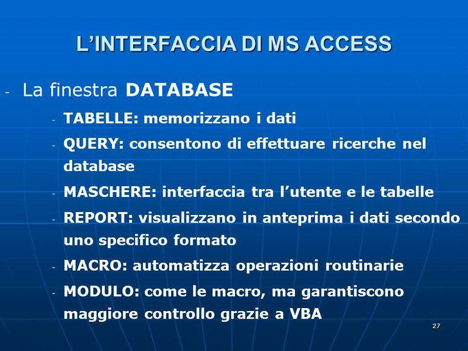 27 LINTERFACCIA DI MS ACCESS - - La finestra DATABASE - - TABELLE: memorizzano i dati - - QUERY: consentono di effettuare ricerche nel database - - MASCHERE: interfaccia tra lutente e le tabelle - - REPORT: visualizzano in anteprima i dati secondo uno specifico formato - - MACRO: automatizza operazioni routinarie - - MODULO: come le macro, ma garantiscono maggiore controllo grazie a VBA