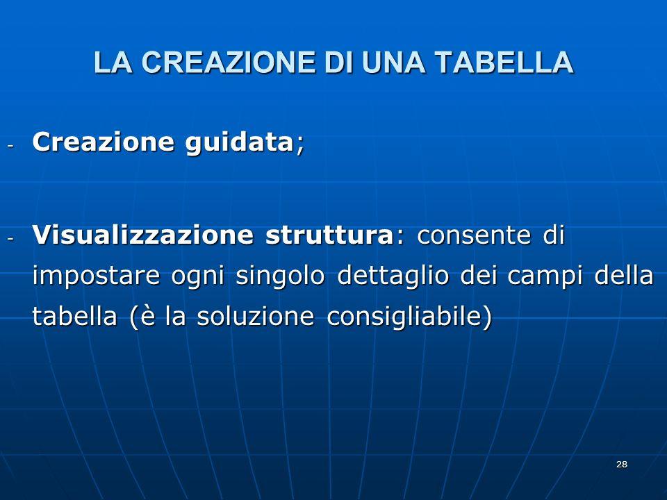 28 LA CREAZIONE DI UNA TABELLA - Creazione guidata; - Visualizzazione struttura: consente di impostare ogni singolo dettaglio dei campi della tabella (è la soluzione consigliabile)