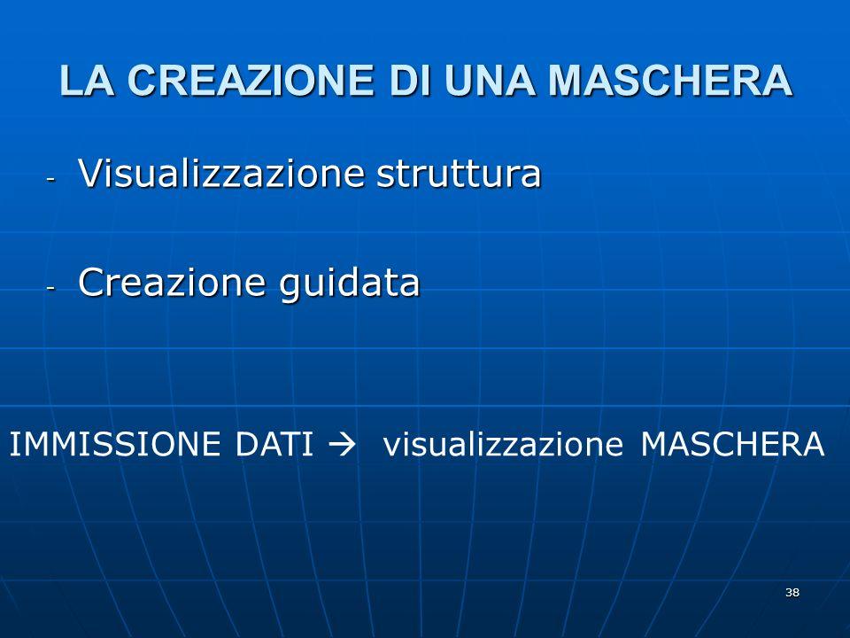 38 LA CREAZIONE DI UNA MASCHERA - Visualizzazione struttura - Creazione guidata IMMISSIONE DATI visualizzazione MASCHERA
