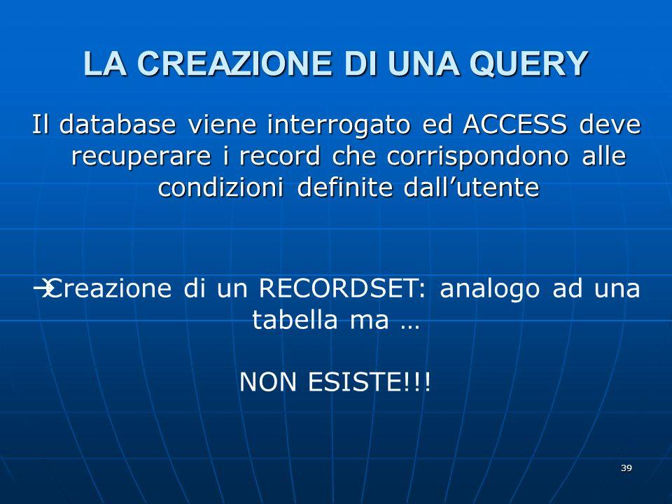39 LA CREAZIONE DI UNA QUERY Il database viene interrogato ed ACCESS deve recuperare i record che corrispondono alle condizioni definite dallutente Creazione di un RECORDSET: analogo ad una tabella ma … NON ESISTE!!!