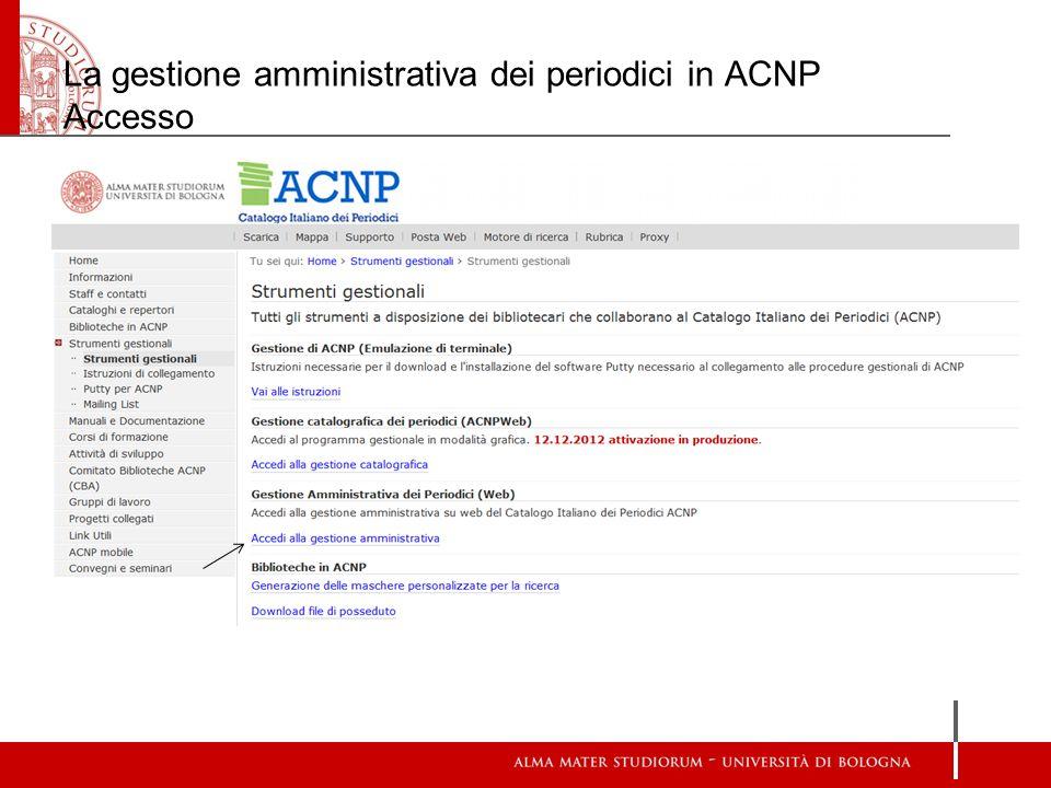 La gestione amministrativa dei periodici in ACNP Accesso