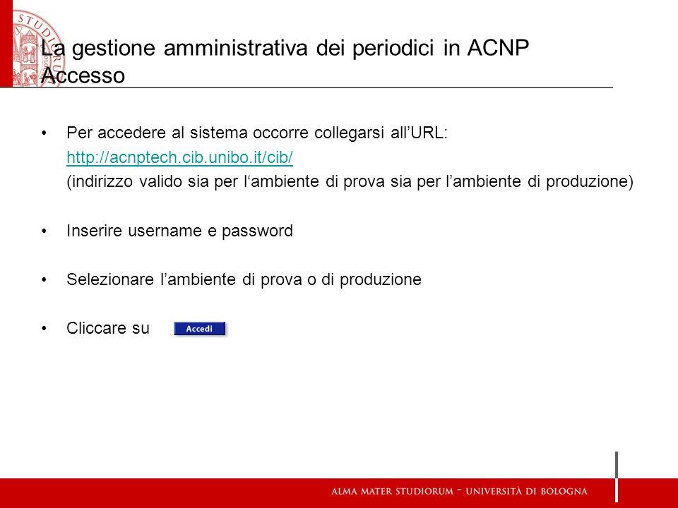 La gestione amministrativa dei periodici in ACNP Accesso Per accedere al sistema occorre collegarsi allURL: http://acnptech.cib.unibo.it/cib/ (indiriz