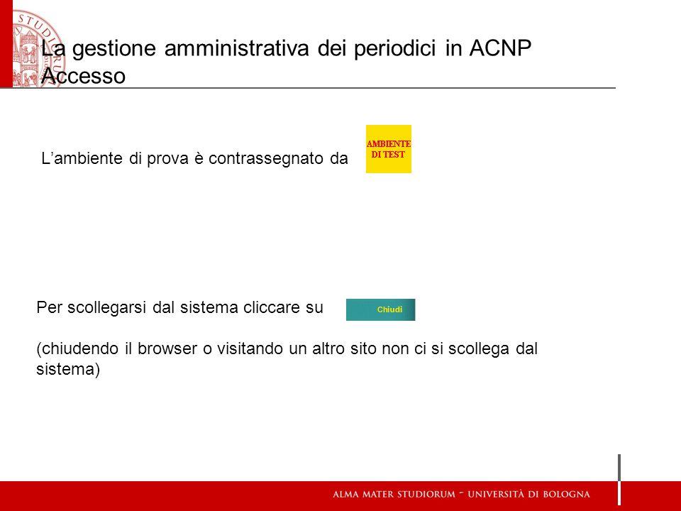 La gestione amministrativa dei periodici in ACNP Accesso Lambiente di prova è contrassegnato da Per scollegarsi dal sistema cliccare su (chiudendo il