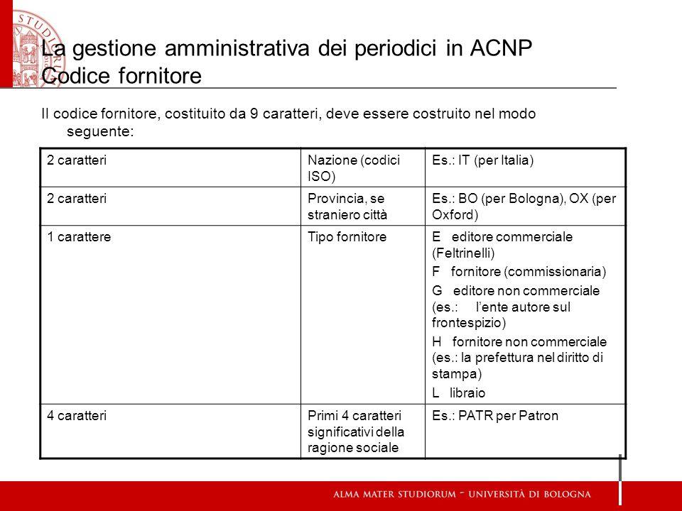 La gestione amministrativa dei periodici in ACNP Codice fornitore Il codice fornitore, costituito da 9 caratteri, deve essere costruito nel modo segue