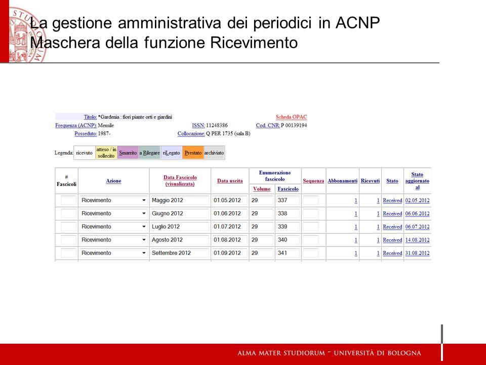 La gestione amministrativa dei periodici in ACNP Maschera della funzione Ricevimento