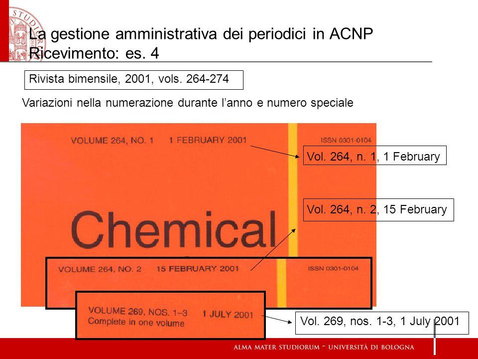 La gestione amministrativa dei periodici in ACNP Ricevimento: es. 4 Rivista bimensile, 2001, vols. 264-274 Variazioni nella numerazione durante lanno