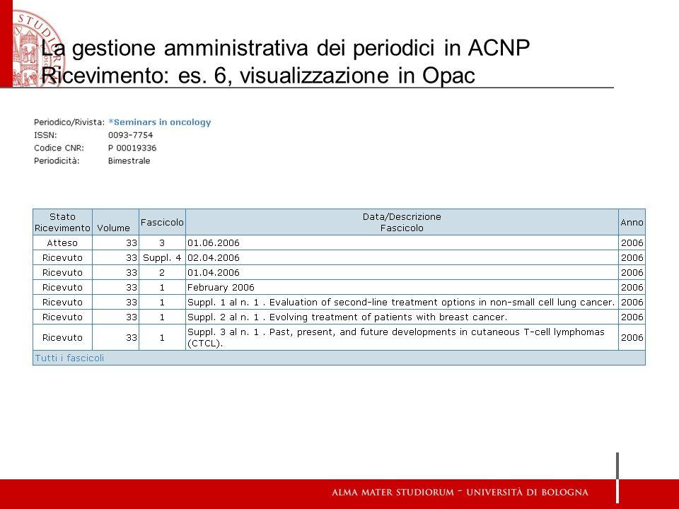 La gestione amministrativa dei periodici in ACNP Ricevimento: es. 6, visualizzazione in Opac