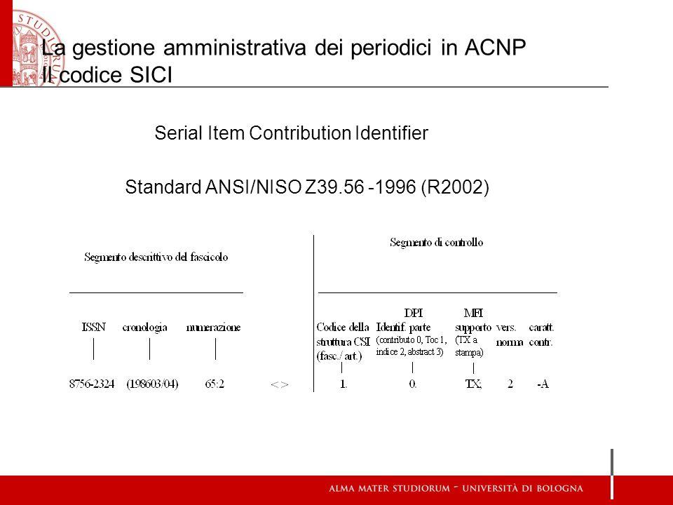 La gestione amministrativa dei periodici in ACNP Il codice SICI Serial Item Contribution Identifier Standard ANSI/NISO Z39.56 -1996 (R2002)