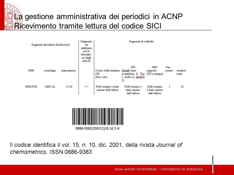 La gestione amministrativa dei periodici in ACNP Ricevimento tramite lettura del codice SICI Il codice identifica il vol. 15, n. 10, dic. 2001, della