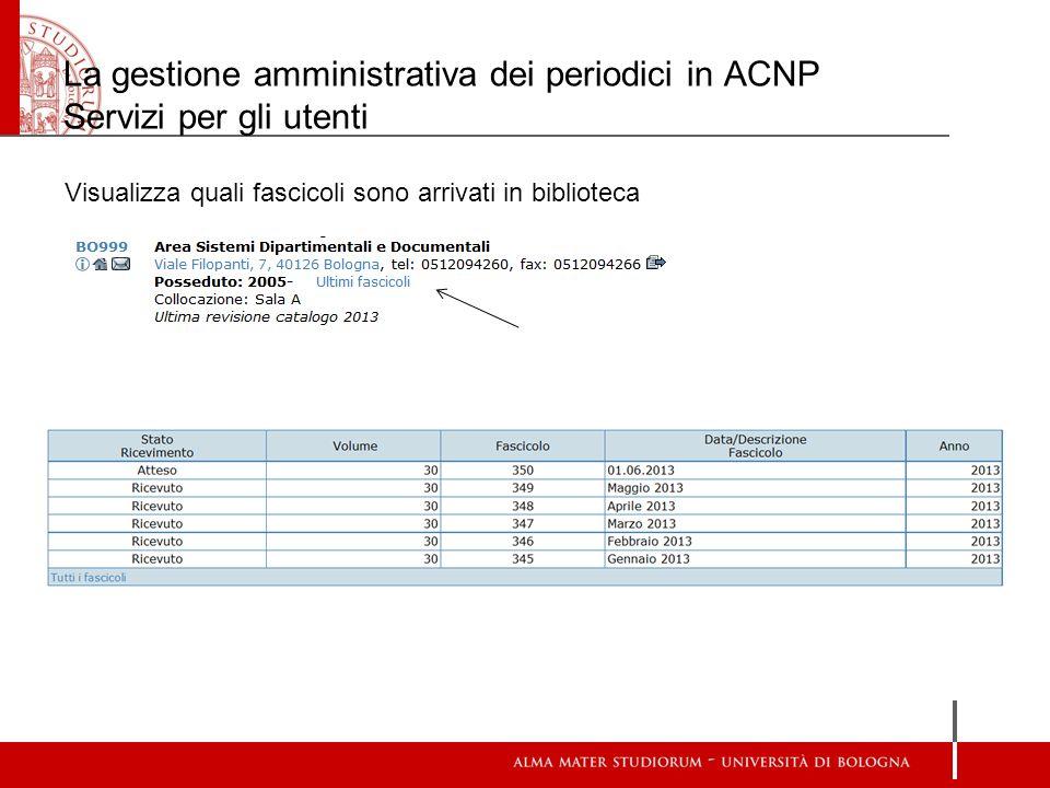 La gestione amministrativa dei periodici in ACNP Servizi per gli utenti Visualizza quali fascicoli sono arrivati in biblioteca