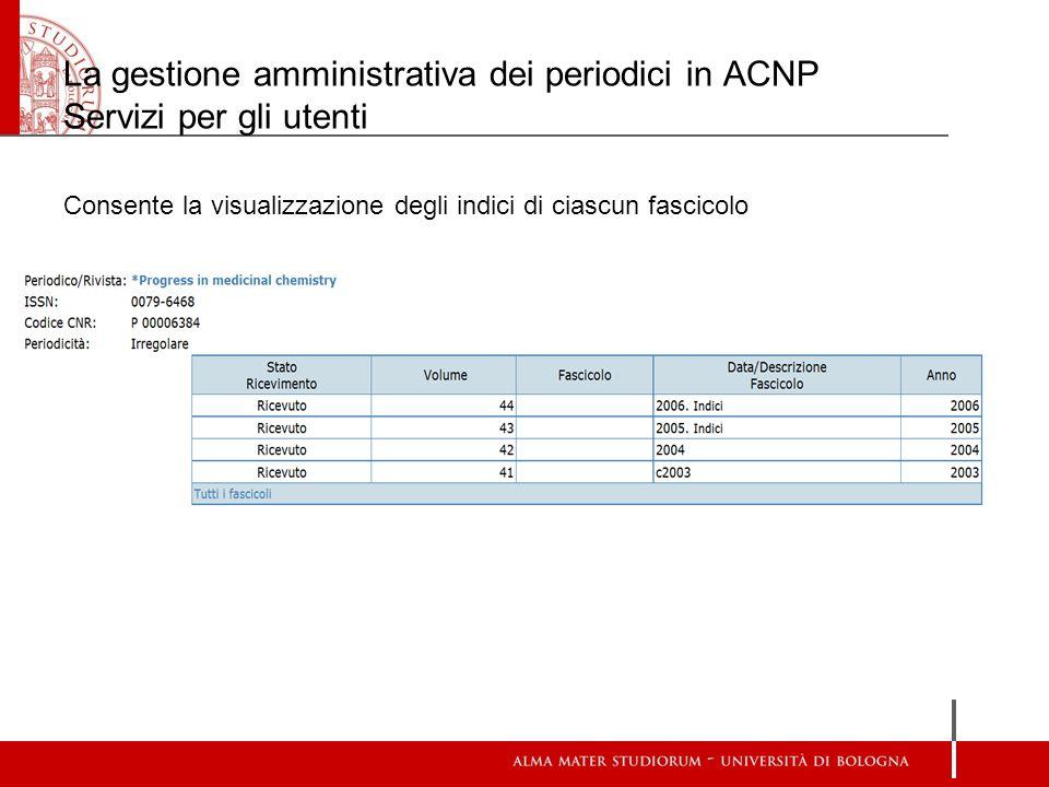 La gestione amministrativa dei periodici in ACNP Servizi per gli utenti Consente la visualizzazione degli indici di ciascun fascicolo