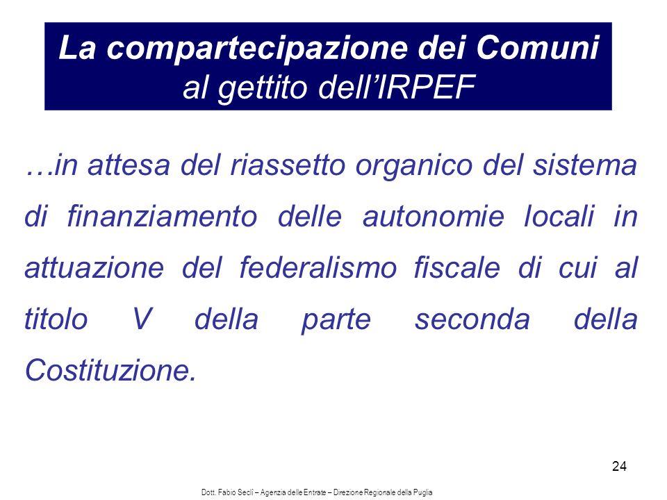 24 La compartecipazione dei Comuni al gettito dellIRPEF …in attesa del riassetto organico del sistema di finanziamento delle autonomie locali in attuazione del federalismo fiscale di cui al titolo V della parte seconda della Costituzione.