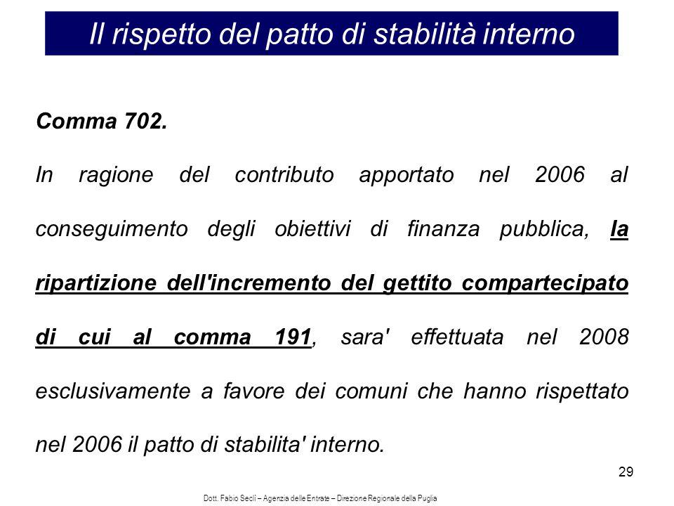 29 Il rispetto del patto di stabilità interno Comma 702.